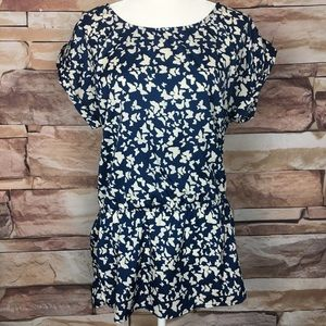Love Fire Blue and White Butterfly Tunic